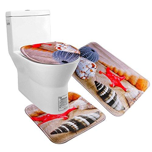Juego de alfombrilla de baño y funda para el asiento del inodoro Uomere, de franela antideslizante, multicolor