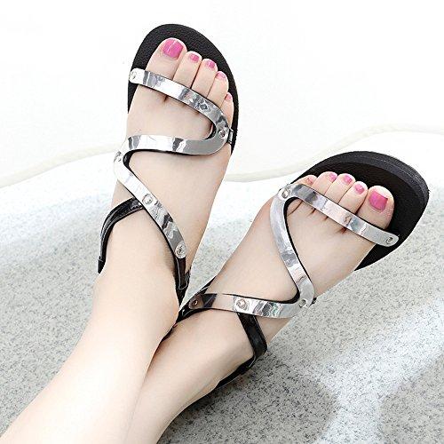 Estate Sandali Sandali piani estivi Scarpe antisdrucciolo scarpe studentesche di moda per oro / siliver Colore / formato facoltativo Silver