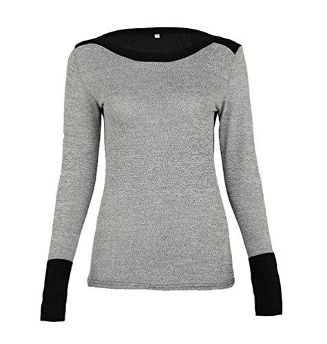 WanYang Femmes Chemise En Tricot Elastique Et Confortable Automne Et Hiver Mode Sweatshirts A Manches Longues Gris