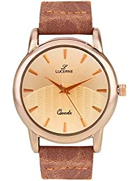 LUCERNE Analogue Copper Designer Dial And Copper Color Canvas Strap Watches For Men Gifts For Friends