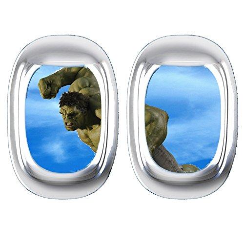 Verschiedene Avengers und Diener Flugzeug Fenster Wand Aufkleber für Autos Motorräder Wohnwagen Häuser customise4utm hulk plane window (Marvel Avengers-fenster Aufkleber)
