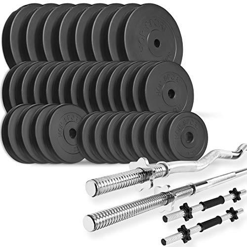 Trex Hantelset Lang-, Curl- und Kurzhantelstange mit Gewichten 50kg bis 160kg zur Wahl (160kg)