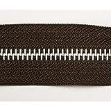 Endlosreißverschluss Metall, Aluminiumschiene, 5 Meter, inkl. 10 Autolock Zipper / Farbe: 04 - dunkelbraun