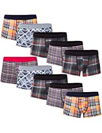 10 weiche farbige Herren Retro Pants Boxershort elastische mit Elastan und Baumwoll weiche Unterhose Short Boxer Pant Hipster