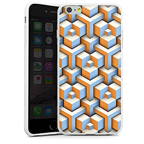Apple iPhone X Silikon Hülle Case Schutzhülle Muster Würfel Illusion Silikon Case weiß