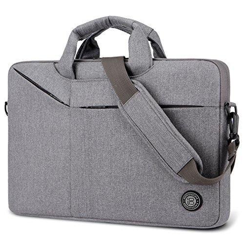 Brinch Bolsa de portátil 15.6 Pulgadas Maletín Bolsos de Mensajero Ligeros para Hombres/Mujeres Bolso de Hombro de Negocios Funda para portatil Compatible con Notebook Laptop, Gris