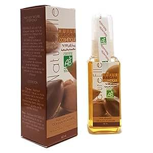 NatureElle Huile d'Argan 100% Pure et Naturelle pour Cheveux et Peau Pure et Organic Anti-age Résultat visible immédiatement Certifiée Ecocert - Spray 60ml
