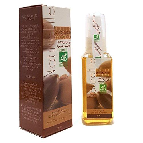 NatureElle Arganöl für Haare & Körper - Natürliche und wirksame Anti-aging - Spendet der Haut Feuchtigkeit und kräftigt das Haar - Spray 60ml