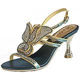 SYYAN Damen Leder Strasssteine Schmetterling Hohl Offener Zeh Pure Handmade Pumpe Kleid Sandalen Blau , blue , 42
