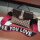 WOAIRAN Umhängetasche Frauen Handtasche Umhängetasche Mode Vintage Druck Damen Breite Schultergurt Kleine Quadratische Tasche Umhängetasche Dunkelbraun