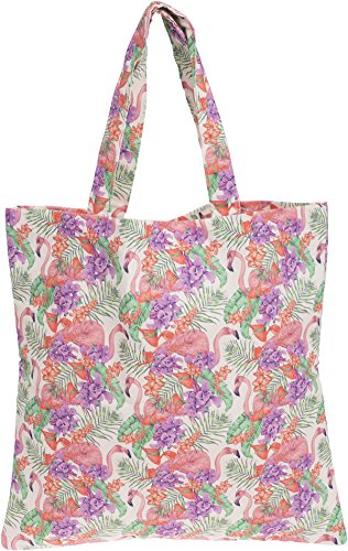 Cute FRANGIPANI Tiki FLAMINGO Canvas SHOPPER Tasche Rockabilly Cremeweiß mit bunten Motiven
