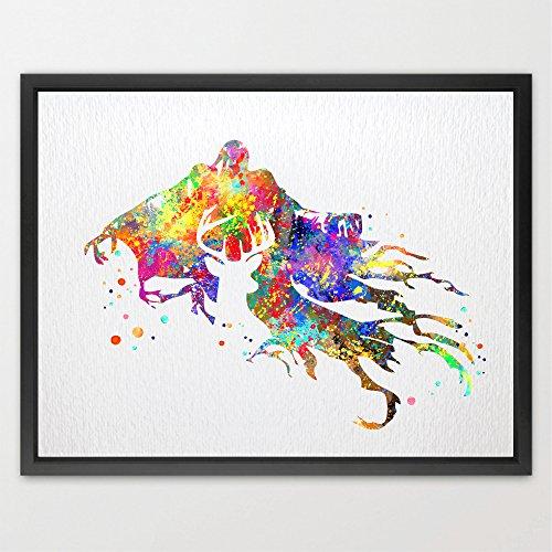 dignovel Studios Harry Potter cervo patronus e Dementor Watercolour Illustration Art Stampa Artistica Bambini Regalo Di Compleanno Bambine ambiente n329-unframed