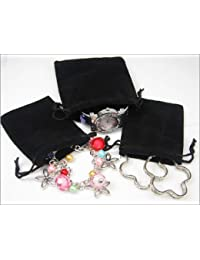 Black Velvet Pouches with Drawstring for Jewelry Gift Bags (5x7cm) - Pack of 100