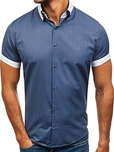 BOLF Herren Hemd Kurzarm Shirt Slim Fit Streifen Muster Elegant Style 1808 Dunkelblau XL [2B2]