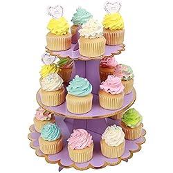 MengH-SHOP Cupcake Stand Cartone 3 Tier Alzata per Torta Supporto per Cupcake per Baby Shower Genere Reveal Festa Bambini Festa di Compleanno