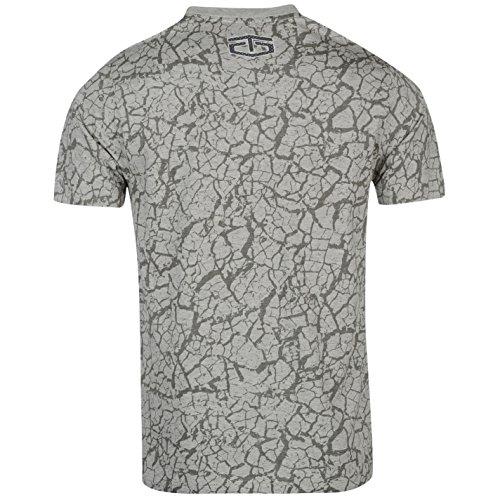 Tapout Herren Chevron T Shirt Kurzarm Rundhals Perforiert Logo Baumwolle  Grau Meliert ...