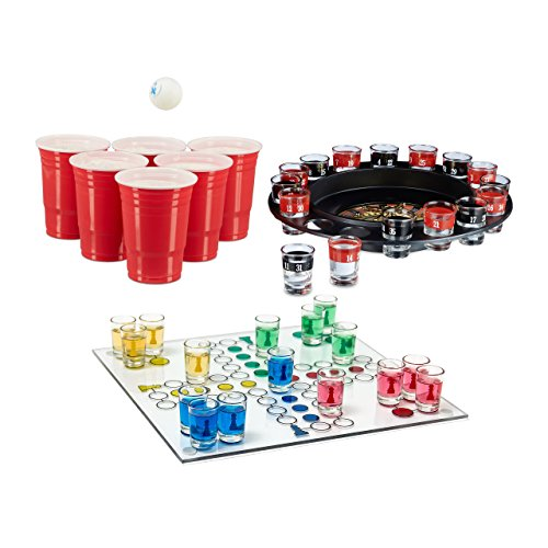 3 teiliges Trinkspiel Set XXL für Erwachsene, Drinking Ludo, Trink-Roulette, Beer Pong Becher rot, Partyspiel, Saufspiel, ab 18