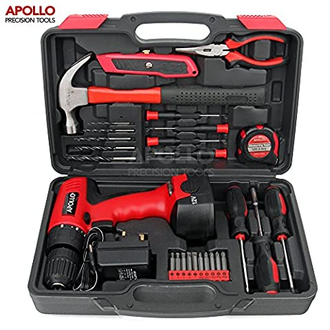 Apollo 26 Piece Household Tool Kit Including 12V Cordless Drill Driver with 800 mAh NiCad Rechargeable 16 Position Keyless Torque Clutch, Variable Speed Switch, Drill & Screwdriver Accessory Set & 25 Piece Most Reached for Hand Tools including Heavy Duty 13oz Hammer – all in Sturdy Storage