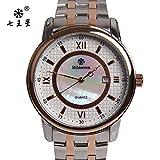 Y-Hui Man Watch impermeable reloj de cuarzo y raspando el fleje de acero Calendario Business Watch Shell,disco de oro y solo calendario blanco