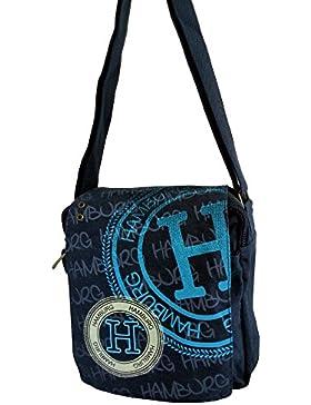 Robin Ruth Canvas kleine Umhängetasche/Überschlagtasche Hamburg in blau stamp style (Maße: LxHxT 23x23x8 cm)