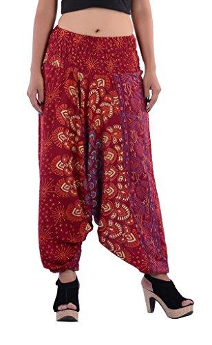 Indi Bargain Rayon Block Print Peacock Alibaba Rayon Mandala Afghani Trouser (315Maroon)