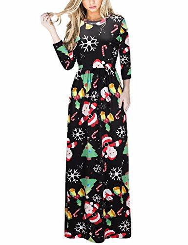 Weihnachten Lange Kleid Weihnachtsbaum Santa Geschenk Prom Maxi Kleid mit Taschen Schwarz (Hässliche Passt Weihnachten)