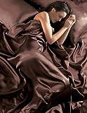 Schokolade 6 Stück Satin Luxusbettwäsche (Spannbetttuch + Bettdecke + Kissenbezüge) 230cm x 220cm