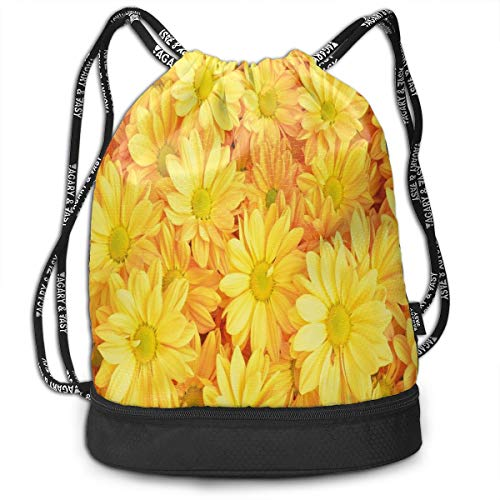 Hmihilu Drawstring Backpacks Daypack Bags,Lively Daisies Fresh Bouquets with Natural Seasonal Bedding Plant Petals,Adjustable String Closure 1 Lazy Daisy