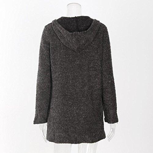 Manteau à Capuche Femme,LMMVP Femmes Manteau Manche Longue Loose Casual Cardigan gris