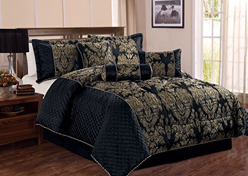 Bedspread 7 Piece Comforter set Bedding set jacquard Bed Set with Matching Valance sheet & Cushion (Double, Sandra Black)