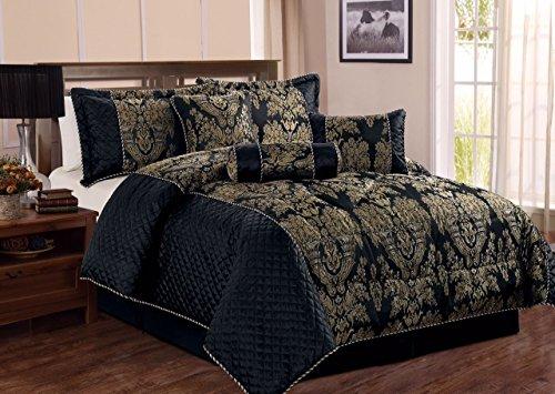 Bedspread 7 Piece Comforter set Bedding set jacquard Bed Set with Matching Valance sheet & Cushion (Double, Sandra Black)