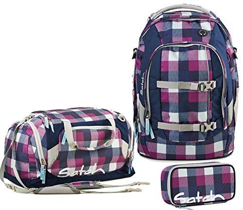 Satch by Ergobag Berry Carry Ensemble de 3 accessoires avec sac à dos d'écolier Fuchsia 966 berry carry