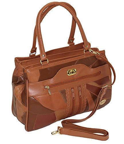 Damen Patchwork Handtasche Vintage Tasche mit zusätzlichem verlängerbaren Henkel Henkeltasche Shopper Schultertasche Umhängetasche Braun DH0006 (Braun) (Patchwork-shopper)