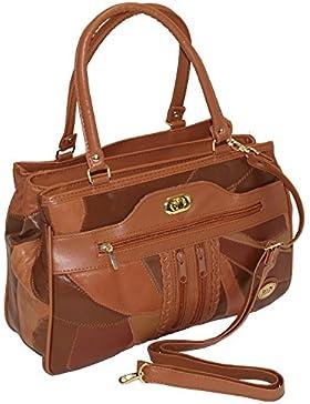 Damen Patchwork Handtasche Vintage Tasche mit zusätzlichem verlängerbaren Henkel Henkeltasche Shopper Schultertasche...