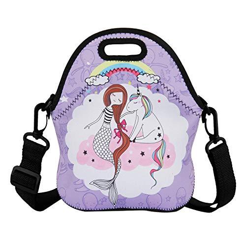 True Holiday Lunchtasche für Kinder, Neopren, isoliert, mit verstellbarem Schultergurt, für Jungen und Mädchen zur Schule, Picknick Unicorn-7 (Schultergurt Jungen-mittagessen-tasche)