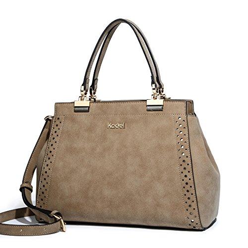 (Kadell Matte Leder Handtaschen für Damen Doctor Geldbörse Hollow Out Designed Umhängetasche Khaki)