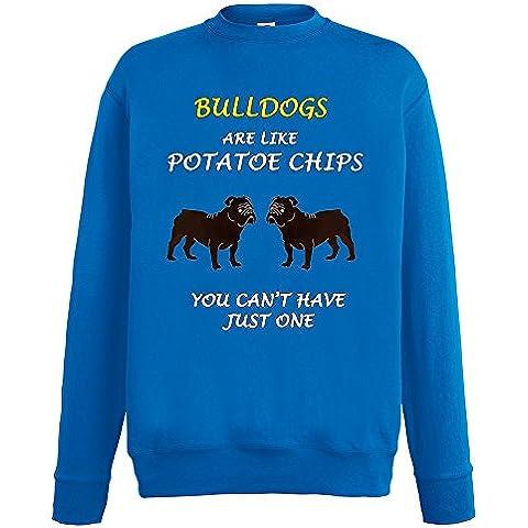 Dogs are like Chips Collezione 1, Fruit of the Loom Royal Mens Sweatshirt Uomo Felpa (Bulldogs Fleece Felpa)