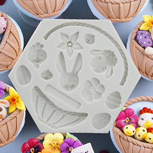 Loving bird DIY Easter Bunny Egg Chocolate Fondant molds Cake Decorating Tools Flower Basket Animals Cupcake Candy fimo Clay Moulds h758 Easter Bunny Cake Pan