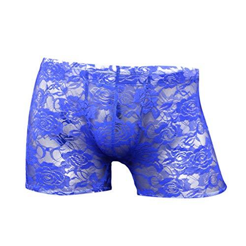 ODRD Herren Dessous Unterwäsche Herren Sexy Unterwäsche Rose Lace Transparent Mesh Low Waist Boyshort Männer Sexy Body Erotik Lingerie Bodysuit Figurformend Sexspielzeug
