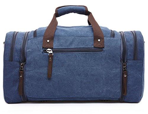 Limirror vintage Canvas Reisetasche Sporttasche weekender Tasche für Damen und Herren mit der Großen Kapazität (Schwarz) Blau