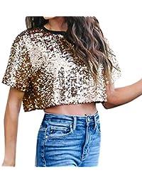 Damen T Shirt, CixNy Bluse Damen Kurzarm Sommer Sexy Lose Pailletten Glitter  Casual Oberteil Tops 50c41111a7