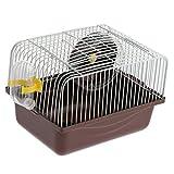 perfk Cage Hamster Habitat avec Jouet de Roue Course avec Bouteille d' Eau Abreuvoir pour Hamster Petit Animaux Portable - Café