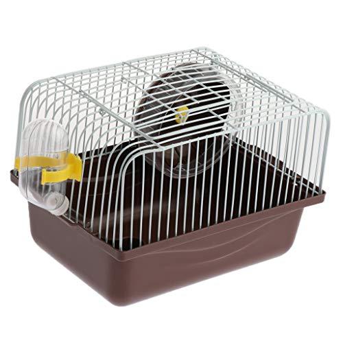 perfk Kleintierkäfig Transportbox mit Tragegriff für Kleinnager Hamster Eichhörnchen Meerschweinchen Chinchillas Ratten Mäuse Rennmäuse - Kaffee (Transportbox Für Hamster)