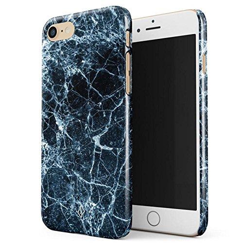 iPhone 7 / iPhone 8 Hülle Dunkel Schwarz Blau Marmor Muster Black Blue Marble Dünn, Robuste Rückschale aus Kunststoff Für iPhone 7 / 8 Handyhülle Schutz Case Cover - Mosaik Dunkel