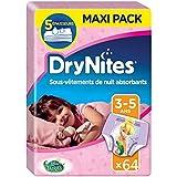 Huggies Drynites 3-5 ans Fille (16-23 kg) - Sous-Vêtements de Nuit Absorbants pour Enfants qui Font Pipi au Lit - x64 Culottes ( Paquets de 16)
