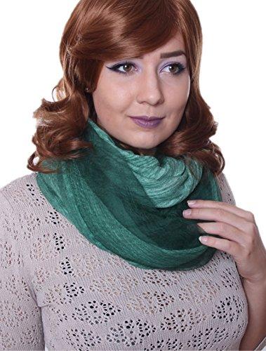 Prettystern - 2 Ply / 2 plis soie & coton 190 cm/65 cm lavés avec désinvolture optique Uni Casual & Ville étole 13 vert