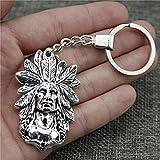Zbzmm Accessori portachiavi Portachiavi in   argento antico capo indiano 58x35mm Nuovo regalo portachiavi in   metallo fatto a mano vintage