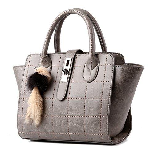 Damen Qualität PU Leder Einfarbig Modisch Handtasche / Umhängetaschen / Schultertasche mit Einstellbar Schulterriemen Dunkel Grau Helle Grau