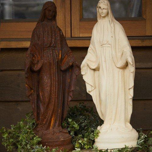 Virgin Mary Garden Statue (Round Wood Trading mar001Gusseisen Garten Virgin Mary Statue Ornament Funktion–Antik Weiß)