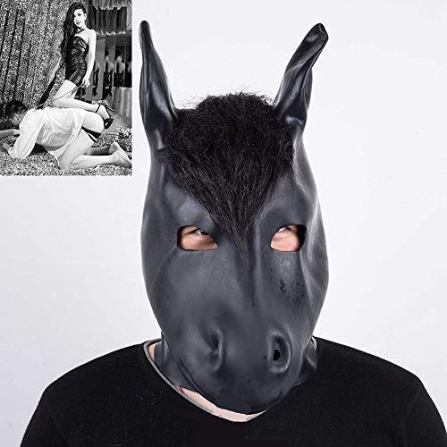 Tier Kostüm Fetisch - SM Naturlatex Pferd Maske Tier Kostüm Masken, Paar Bondage Sexspielzeug für Cosplay/Folter/Fetisch/fesseln/Sklave/BDSM,B